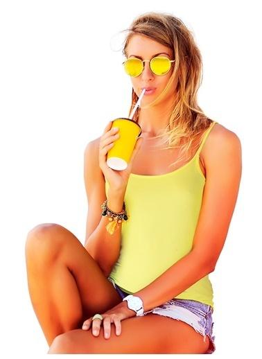 Miorre İnce Askılı Seamless Atlet Sarı